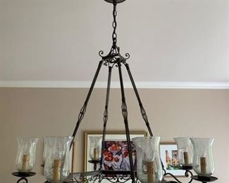 "38. 8 Light Currey and Co. Metalwork Chandelier (36"" x 42"")"