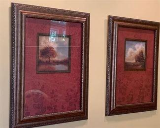Pair of Landscapes Paintings w/ Burgundy Velvet Mat