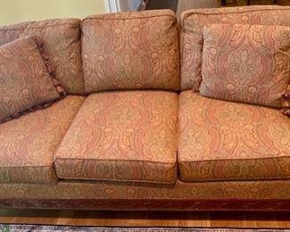 "45. C.R. Laine 3 Cushion Sofa w/ Carved Wood Base (80"" x 42"" x 36"")"