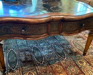 "44. Artistica Coffee Table w/ Metal Scroll Inlay and Nailhead Detail (42"" x 42"" x 20"")"