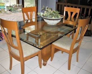 Modern Dining Room Table, Glass Top with 4 Chairs