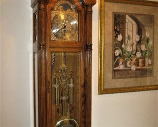 Howard Miller Grandfather Clock from the Ambassador Collection and Large Framed Print