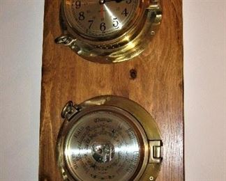 Brass Port Hole Style Ships Clock and Barometer