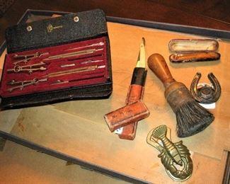 Antique Drafting Set, Straight Razors and Shaving Accessories, Bottle Opener, etc.