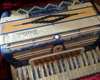 Italian Marotta  United - Full Sized, Piano Accordion - Blue & Ivory Pearloid case, hard carrying case with velvet lining