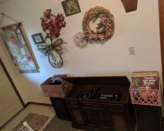 Vintage Record Cabinet and Records