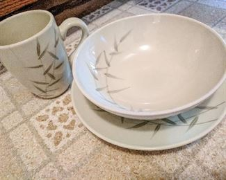 World Market Dinnerware, Green Leaves on Ivory Stone Ware