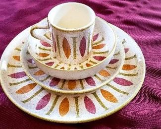 Red Wing Dinnerware and Accessories Pepe Pattern- Vintage '62-'63 Green, orange, & pink, 70 Piece Set