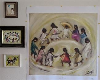 "Ettore ""ted"" DeGrazia - rendition paintings and one print. Los Ninos, Wandering Burro, Girl With Balloon."