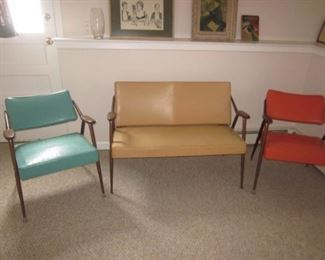Mid-Century Modern Viko Baumritter Vinyl Love Seat with Pair Retro Arm Accent Chairs