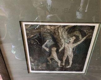 Beautiful mono print – rain dancers signed by artist