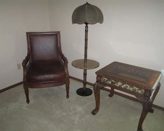 CHAIR, FLOOR LAMP, AND END TABLE