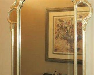 LaBarge Italian Regency Double Frame Aged Silver Leaf Mirror