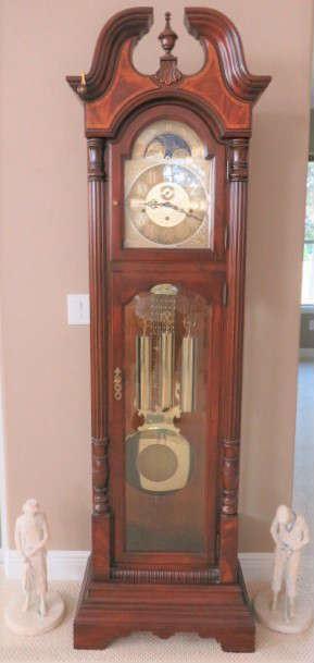 Sligh Grandfather Clock, Vintage Set Of Lady & Man Golfer Golf Sports Sculptures