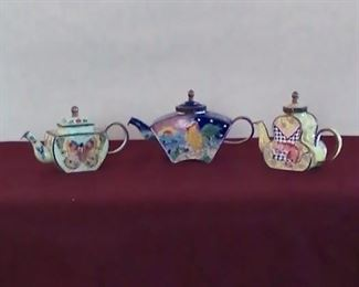 Kelvin Cheng Enameled miniature tea pots