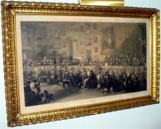 Historical gilt framed large antique engraving. Originally by William Salter. Banquet at Apsley House, June 18, 1836.