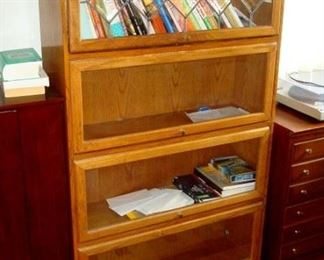 Barrister's  bookcase with leaded glass top section.