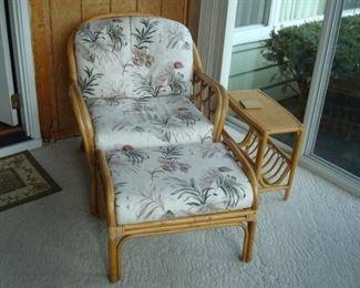 Rattan chair, mag. stand and ottoman.