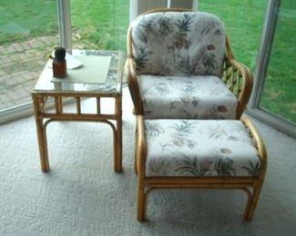 Rattan chair, table and ottoman.