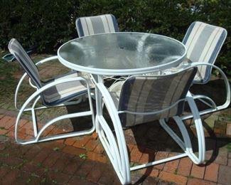 metal patio furniture set.