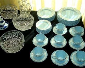Wedgewood Etruria white on blue china & cut glass bowls.