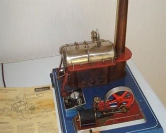 Antique Wilesco steam engine in working condition.