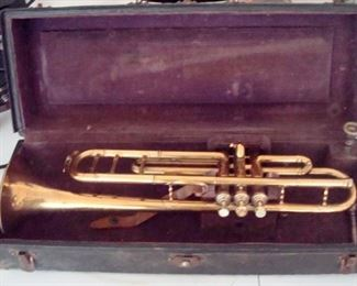 Antique Marceau trumpet & case.