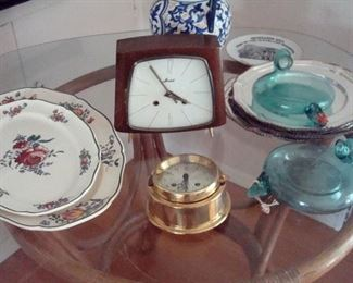 Antique German Deco Kaid clock and brass chronometer, Villeroy & Bach platters, & etc.