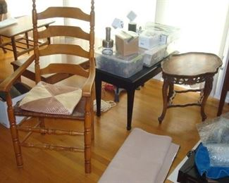 Ladder back chair and other items.