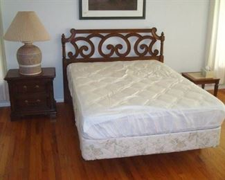 Thomasville double bed, mattress set, bed side stands and lamp.