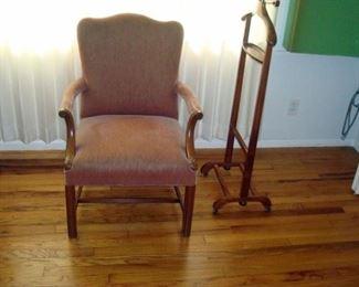 Vintage 1940's arm chair & clothes butler.