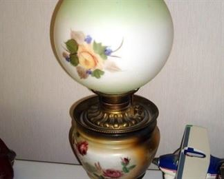 Victorian Gone with the Wind lamp with original base and shade. Electrified.