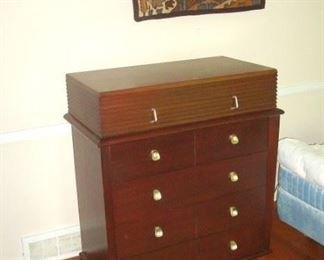 Mid Century American of Martinsville chest of drawers and vintage wall hanging.