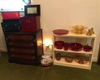 4 drawer chest (Needs some veneer work or Paint).  Amberina Glass, Ruby Red Glass, Amber Glass.  Indiana Glass Co.