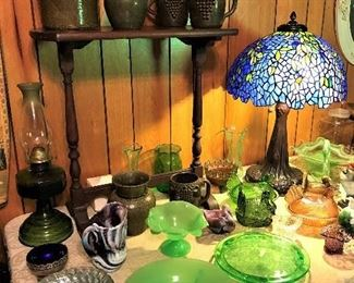 Lanier Meaders signed Georgia folk pottery, Dale Tiffany Lamp, Vaseline Glass, Vintage Glass.