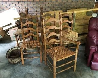 Cane Ladder back chairs