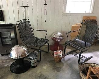 Metal Outdoor chairs.  New patio grills.