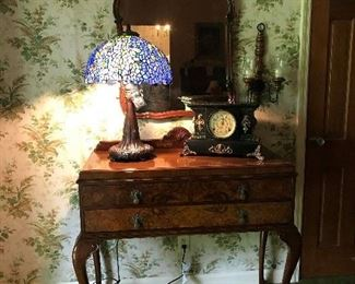 Foyer Table.  Mirror, Antique Clock.  One of two new Dale Tiffany Lamps