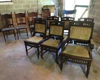 East Lake chairs.  Older Oak chairs, rocking chair