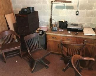 More chairs and desks, Wood File Cabinet