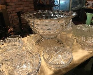 Large American Fostoria Punch Bowl and serving bowls.
