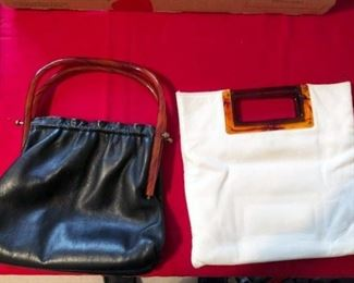 BAKELITE AND LEATHER PURSES,WHITE PURSE SOLD.