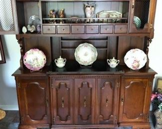 TELL CITY HUTCH WITH DROP DOWN SERVING TRAY