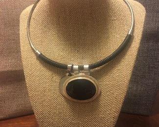 Sterling Silver Choker w/ Black Onyx Pendant