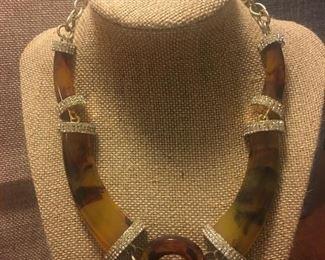 Fine Tortoiseshell & Lucite Designer Necklace