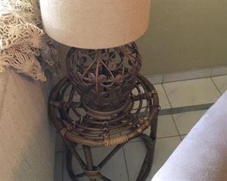 Rattan Coffee Table & Lamp
