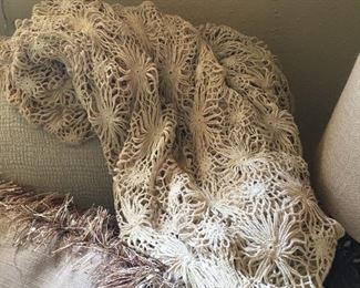 FINE Old Spiderweb Linen - Circa 1940's