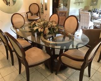 FINE High-End Dining Room Set - HUGE Table w/ Beveled Glass Top, 6 chairs - sold as set - also two additional bar stools sold separately - client paid over 5K you won't believe our unbeatable price!
