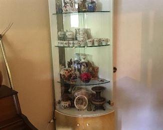 Fabulous Mid Century Modern Corner Curio Cabinet (Lighted!)