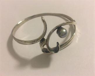 Sterling Silver Mid Century Bracelet Cuff